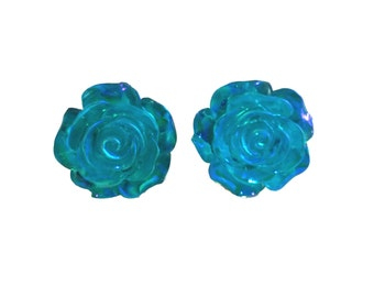 Mrs.AB Large (21mm) Rose Flower Earrings Studs