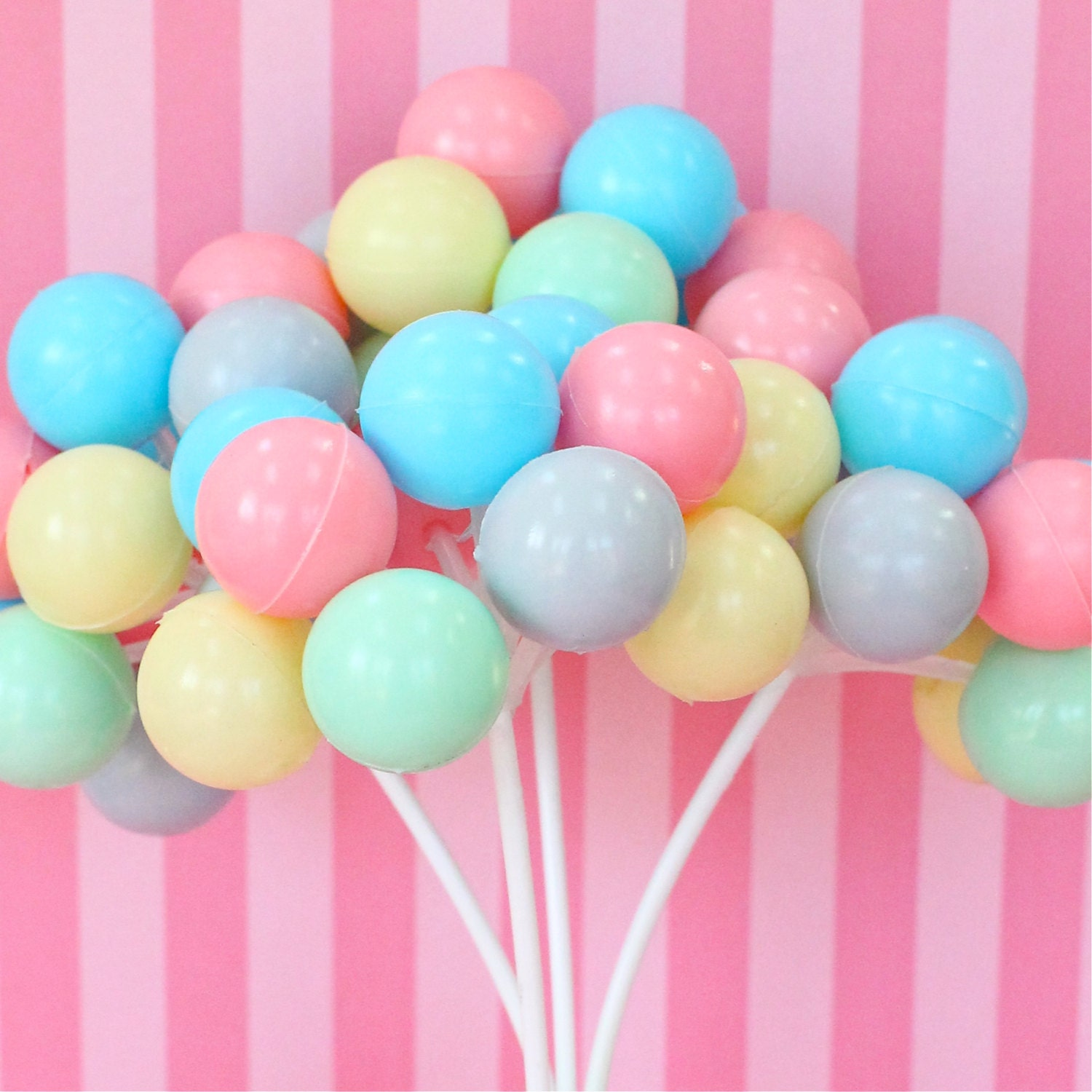 3 Pastel Party Balloon Cupcake Cake Toppers Plastic