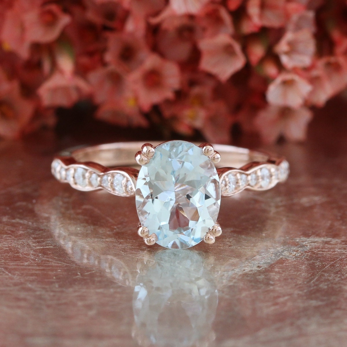 solitaire aquamarine engagement ring in 14k rose gold. Black Bedroom Furniture Sets. Home Design Ideas