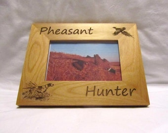 Personalized Wooden Picture Frame- Pheasant Hunter