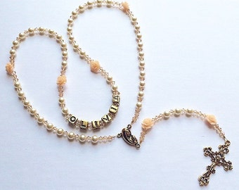 Personalized Rosary- Swarovski Cream Pearl and Peach Crystals- Peach Roses