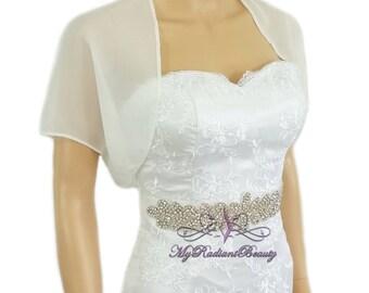 Chiffon Jacket, Ivory Bridal Bolero, Wedding Bolero Jacket, Chiffon Jacket, Bolero Shrug, Wedding Wrap, Scarf, Bridal Stole SCJ108-IVY