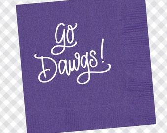 Go Dawgs! Napkins (Qty 25) - Purple