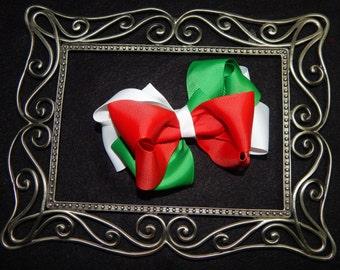 5 Inch Christmas Hair Bow, Red White Green Hair Bow, Fiesta Hair Bow, Mexican Flag Hair Bow, Boutique Hair Bow, Stacked Hair Bow, Xmas Bow