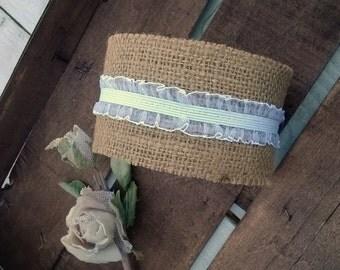 Burlap Ribbon - Burlap and Lace ribbon -  Wedding Ribbon - Wedding Decoration - Wedding Accessory - Rustic wedding - Wedding Decor