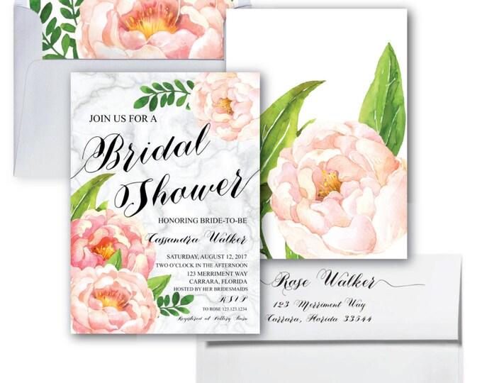 Bridal Showe Invitation // Marble // Pink Floral // Carrara Marble // Blush Pink // Watercolor // Calligraphy // CARRARA COLLECTION