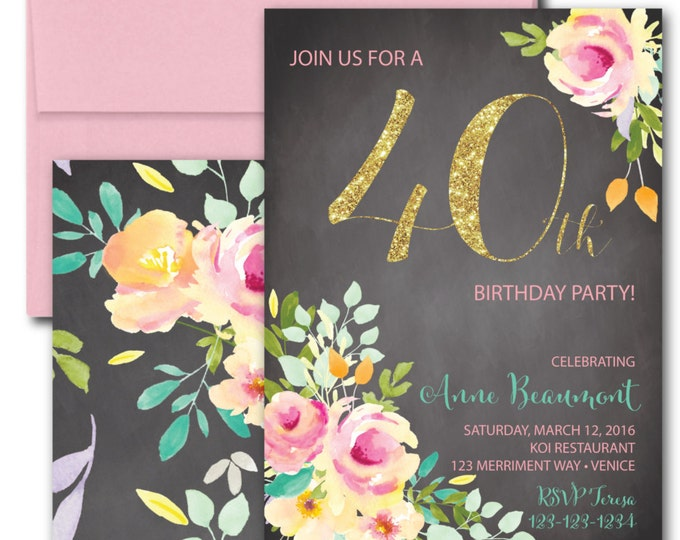 40th Birthday Invitation // Chalkboard // Fortieth Invite// Roses// Peonies // Peony // Pink // Gold Glitter // Yellow // VENICE COLLECTION