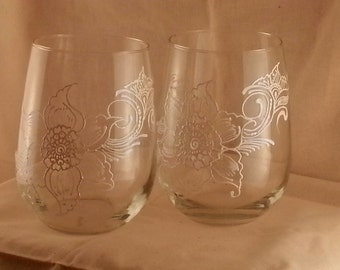 Henna-Themed Hand-Painted Stemless White Wine Glasses in White Pearl by Henna Bri, 17 fl.oz., Set of 2