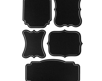 Assorted Chalkboard Label Stickers, Solid Border, 5-Piece
