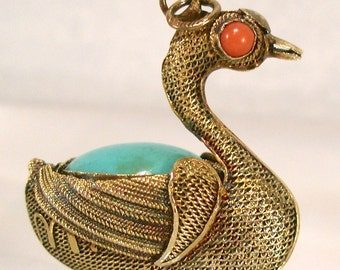 Asian Sterling Vermeil Mesh Filigree Swan Coral Turquoise Pendant