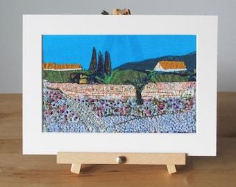 Landscape art - textile artwork - nature scenery - hand embroidery - fiber arts - mixed media landscape - unframed