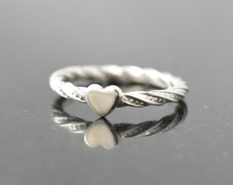 Tiny heart ring, Twist heart ring, Stacking ring, Heart ring, Her gift, Sister gift, Minimalist ring, Sterling silver ring, Stackable ring