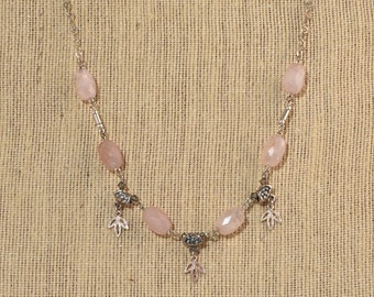 Rose Quartz Necklace with Silver Components and Swarovsky Crystals