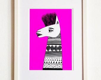 Limited Edition Silkscreen Screenprint - Pink Llama Punk