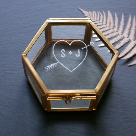 Heart and initial glass jewellery box personalised keepsake for Jewelry box with initials