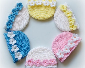 No-Sew Flower Hats-4 Sizes - crochet | baby | infant | girl
