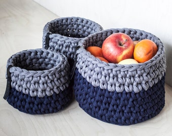 Storage Baskets Set/ Kitchen - Bedroom - Nursery - Hallway - Bathroom Organizers/ Navy Grey Crochet Organizing Bins of Recycled Chunky Yarn