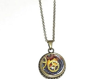 Interchangeable snap button necklace-antique brass or silver tone - noosa ginger snap button charm style