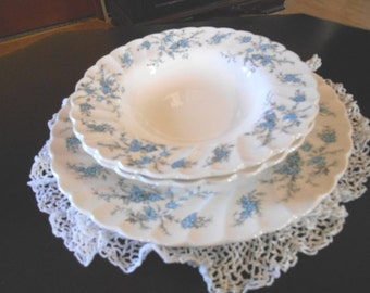 Myott England-  Forget Me Not Pattern - 2 Soup Coupe Bowls And 1 Dinner Plate
