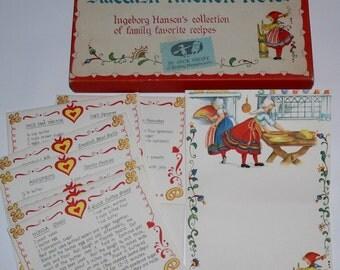 Vintage Vtg Ing's Swedish Kitchen Notes Recipe Cards Box Family Baking Cooking Set HTF Ingeborg Hanson