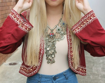 Vintage Maroon Red Embroidered Cropped Jacket S-M