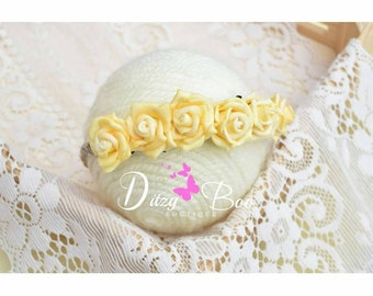 Newborn yellow rose headband, photography prop. Ready to send