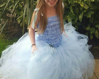 8-11 years puffy ruffle lace tutu dress with corsage. Made to order.