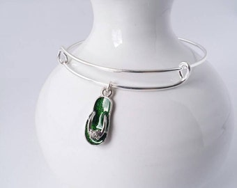 Emerald green flip flop sandal charm bangle bracelet