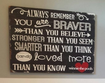 Disneys Winnie the pooh smarter than you think quote on wood lathe made to order wall hanging.