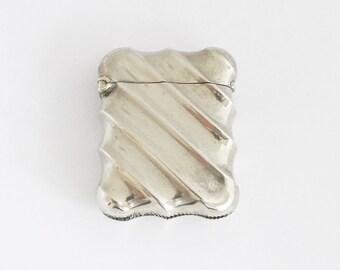 1930s Vintage French Vesta Match Case Brass Match Safe Pill Box