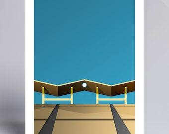 Minimalist Dodger Stadium - Ballpark Art Print - Los Angeles Dodgers (Pavilion Roof)