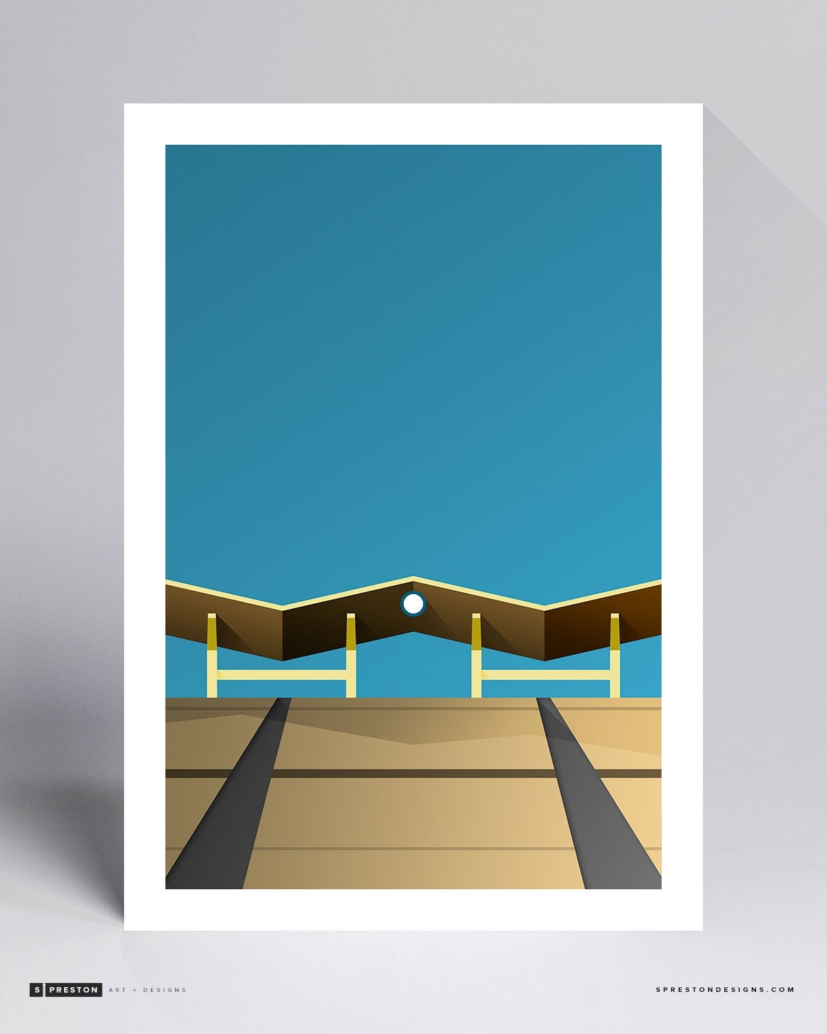 Minimalist Dodger Stadium Ballpark Art Print Los Angeles