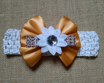 Baby Headband, Rhinestone Headband, Flower Headband, Baby Hair Accessory, Rhinestone Hairbow, Infant Headband, Baby Bow Headband
