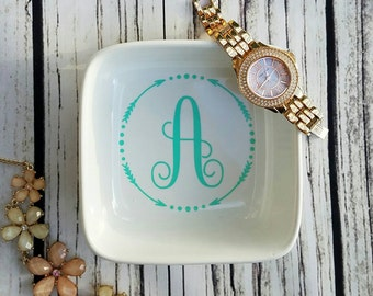 Monogram Ring Dish, Monogram Jewelry Dish, Bridesmaid Gift,  Engagement Gift, Jewelry Holder Dish, Bridal Party Gift, Gifts under 10,