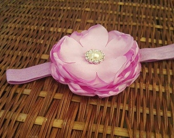 Lavender Cabbage Rose Headbands, Cabbage Satin Headband, infant,toddlers, girl Accessories