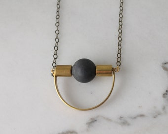 Concrete and brass necklace