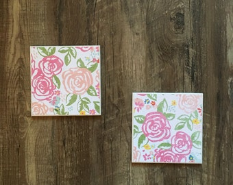 floral coasters {set of 2} // drink coasters, ceramic, tile, watercolor, pink, flowers, bachelorette pad, housewarming, handmade