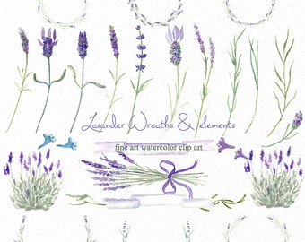 Lavender wreaths watercolor clip art, hand drawn. Romantic wedding, purple, violet purple flowers tender, wedding invitations