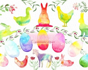 Watercolor EASTER Hand Painted Clip Art. Bunny, hen,  duck, lamb, eggs.