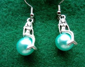 Aqua Pearl Mermaid Earrings