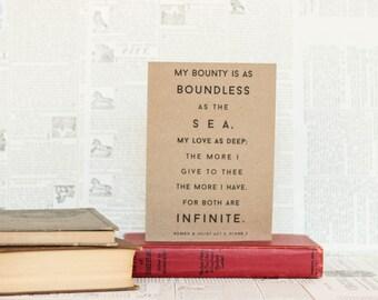 My Love is as Deep as the Sea Romeo and Juliet Card: Brown Kraft Paper