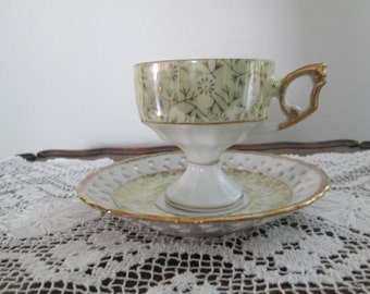 Yellow/Gilt Lusterware Pedestal Teacup and Saucer/Unmarked  Circa 1950's  #16086