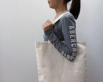 """16"""" * 17"""" Plain unbleached Cotton canvas tote bag, Market bag, Eco friendly cotton fabric, Style#104"""