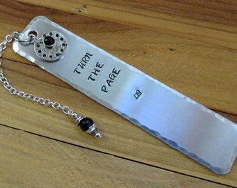 Aluminum Stamped Metal Bookmark Turn The Page