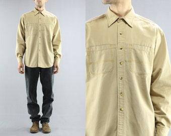 L.L. Bean Safari Long Sleeve Button Up Oxford Heavy Duty Cotton Canvas Twill Dress Collared Shirt Men's Size Large Regular 90's Vintage