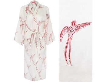 Cotton KIMONO Robe Ladies Cotton Dressing Gown. Bathrobe. Lightweight 100% cotton. Hand-printed w/natural dyes OneSize: 130cm length.