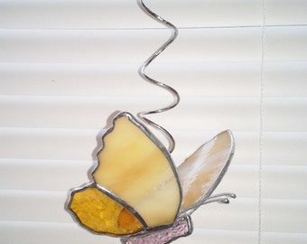 Stained Glass Butterfly-Amber/Cream-Sun Catcher on Coiled Hanger