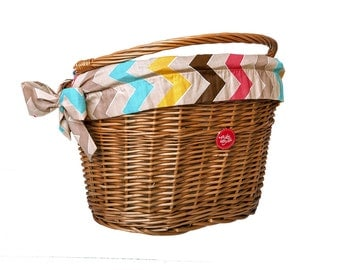 Classic Wicker Bike Basket with liner Rainbow Chevron, Bike Belle