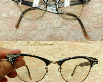 Vintage Rhinestone Cat Eye Glasses Frames vintage glasses optical aluminum Artcraft womens glasses
