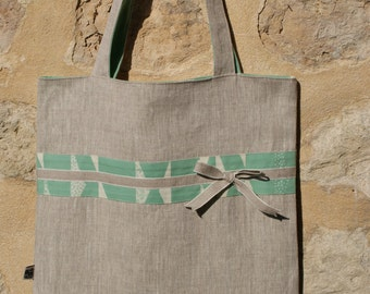 Maxi Tote Bag / Bag reversible race in celadon reasons white triangles organic cotton and natural linen